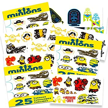 Minions Temporary Tattoos Party Favor Set (75 Temporary Tattoos) 0
