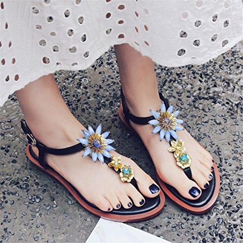 LIXIONG Portátil Sandalias planas de la correa Flores zapatos dulces de la manera Sitio cómodo con las zapatillas de las mujeres -Zapatos de moda ( Color : A , Tamaño : EU36/UK4/CN36 ) A