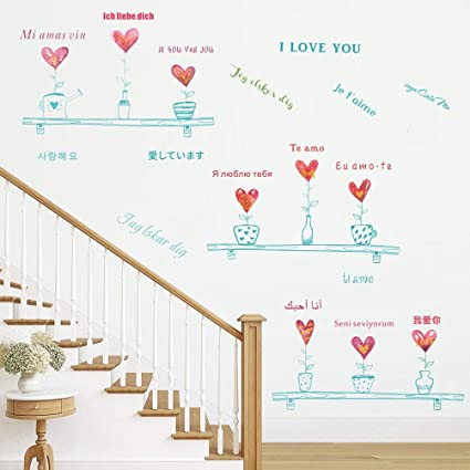 BIBITIME Heart Potted Plant Wall Decal Different Country Languages Sayings  I LOVE YOU Quotes Sticker for Couple Lovers Room Girlfriend Bedroom ...