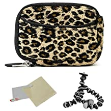 BROWN Leopard Animal Design Water Resistant Protective and Durable Carrying Sleeve Case For Nikon D300S / D3100 / D3200 / D3X / D4 / D5100 / D700 / D7000 / D800 / D800E / D90 / J1 / V1 Point And Shoot Digital Camera + Includes a Universal Anti-Glare Screen Protector Guard + Includes 6 Inch Mini Tripod