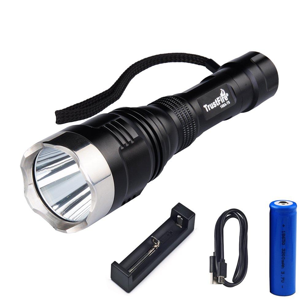 Diyueol (Trustfire) Tactical Hunting Searchlight Flashlight,1600 Lumens CREE XM-L2 LED Long-Range 540M Spotlight,Stainless Steel Strike Bezel,5-Mode Memory 18650 Torch,3200mAh Battery Included.