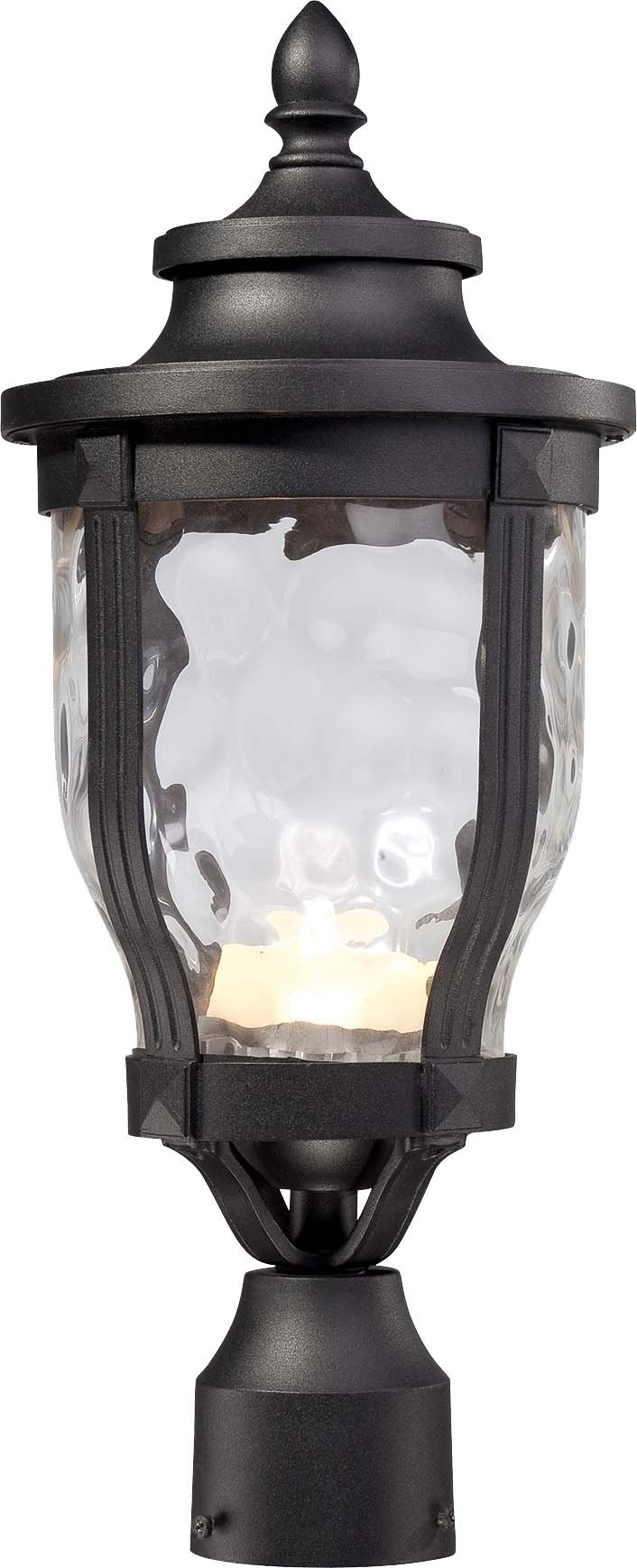 Minka Lavery 8766-66-L 1 Light Post Mount in Black Finish w/Clear Hammered Glass