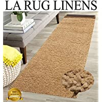 Tan Beige Shaggy Shag Area Runner Rug 7 x 2 High End Designer Quality Carpet Bedroom Bathroom Living Room Hallway RTN