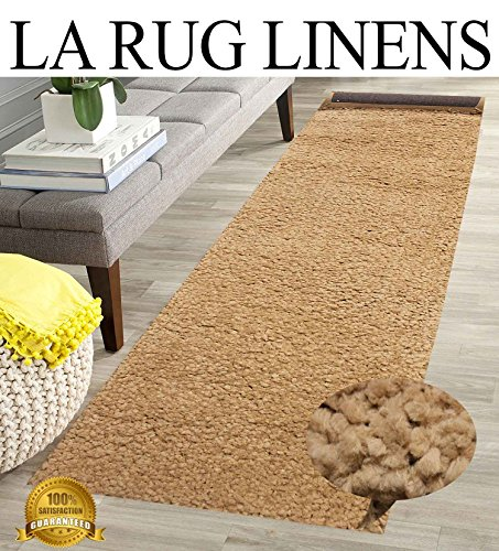 Tan Beige Shaggy Shag Area Runner Rug 7 x 2 High End Designer Quality Carpet Bedroom Bathroom Living Room Hallway RTN (Runner Bath Target)