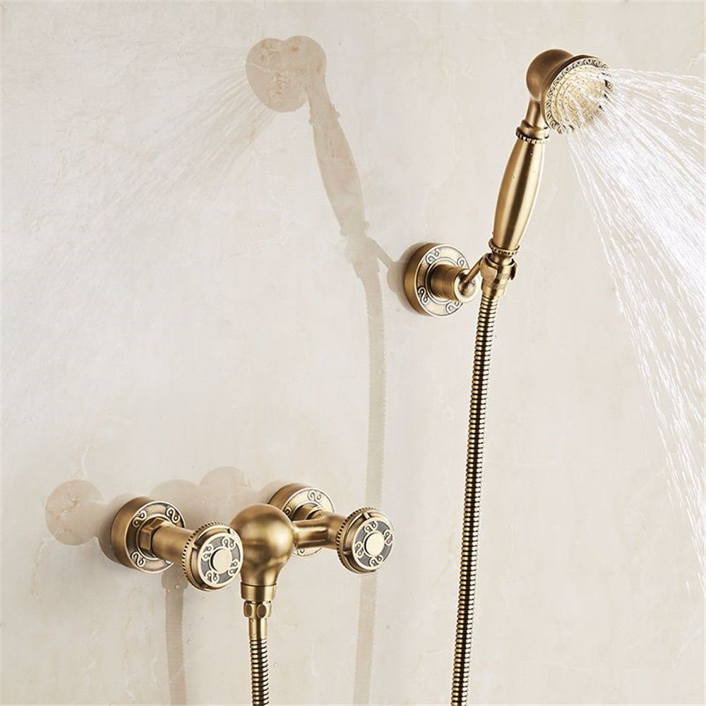 A S.Twl.E Sink Mixer Tap Faucet Bathroom Kitchen Basin Tap Leakproof Save Water Antique Brass Bath Double Mixing Hot And Cold Water Valve Leading Into Wall Mounted Shower Faucet Kit B