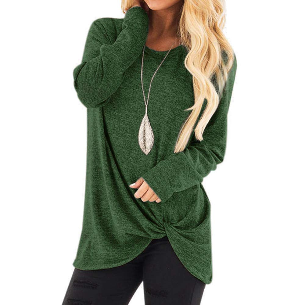 Blouse Tops for Women, Sttech1 Women Fashion Comfy Loose Long Sleeve O-Neck Casual Solid T-Shirt
