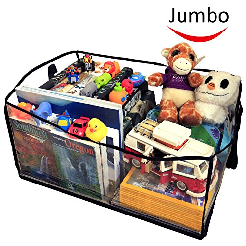 Best Price Deluxe Jumbo Clear Toy Organizer, 26x18x12, Toy Chest Baskets Storage Bins for Dog Toys,...