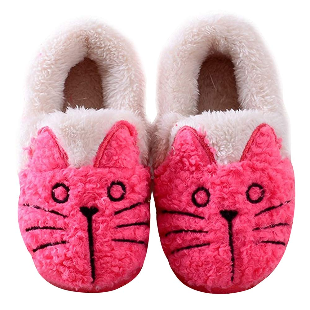 Women Cute Cat Warm House Slippers Booties Rose 6-7 B(M) US Adult