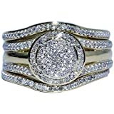 Wedding Ring Set 3 Piece 1/3cttw Round Halo Engagement Ring and 2 Band Matching (I2/i3, I/j)