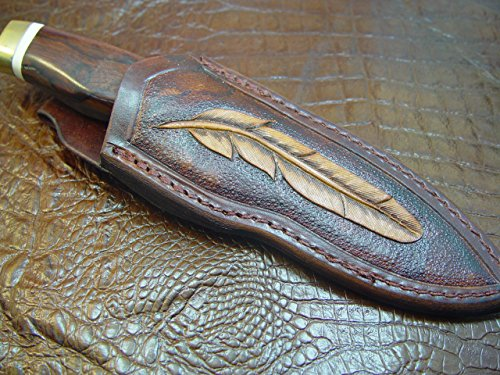 Leather Knife Sheath for Buck 692 Vanguard or Zipper. Tooled W/feather &Dyed Brown