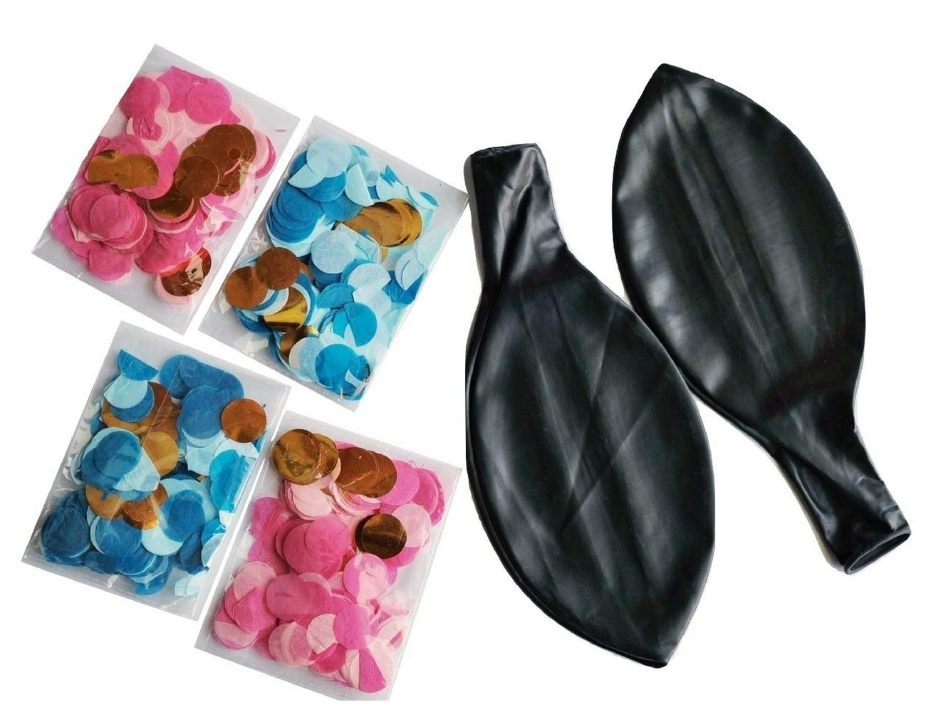 Gender Reveal Balloons 2 Pack - 2 Black Sphere Balloons + 4 Packs Confetti, 2 Blue, 2 Pink Winsharp