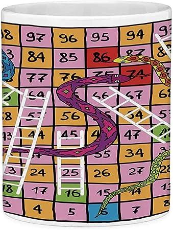 Taza de café divertida con cita Juego de mesa 11 onzas Taza de café divertida Serpientes con detalles ornamentales Escaleras blancas Dibujados a mano Cuadrados Números Suerte Mover Multicolor: Amazon.es: Hogar