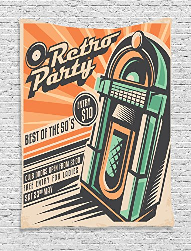 Ambesonne 1950s Decor Collection, Celebration Disco Dj Entertainment Rock and Roll Young People Event Invitation Design Print, Bedroom Living Room Dorm Wall Hanging Tapestry, Orange Teal ()