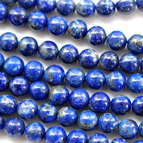 Natural Color Genuine Blue Lapis Lazuli Real Gemstone Loose Beads for Necklace Jewelry Making (round 6mm) Blue Stone Beads