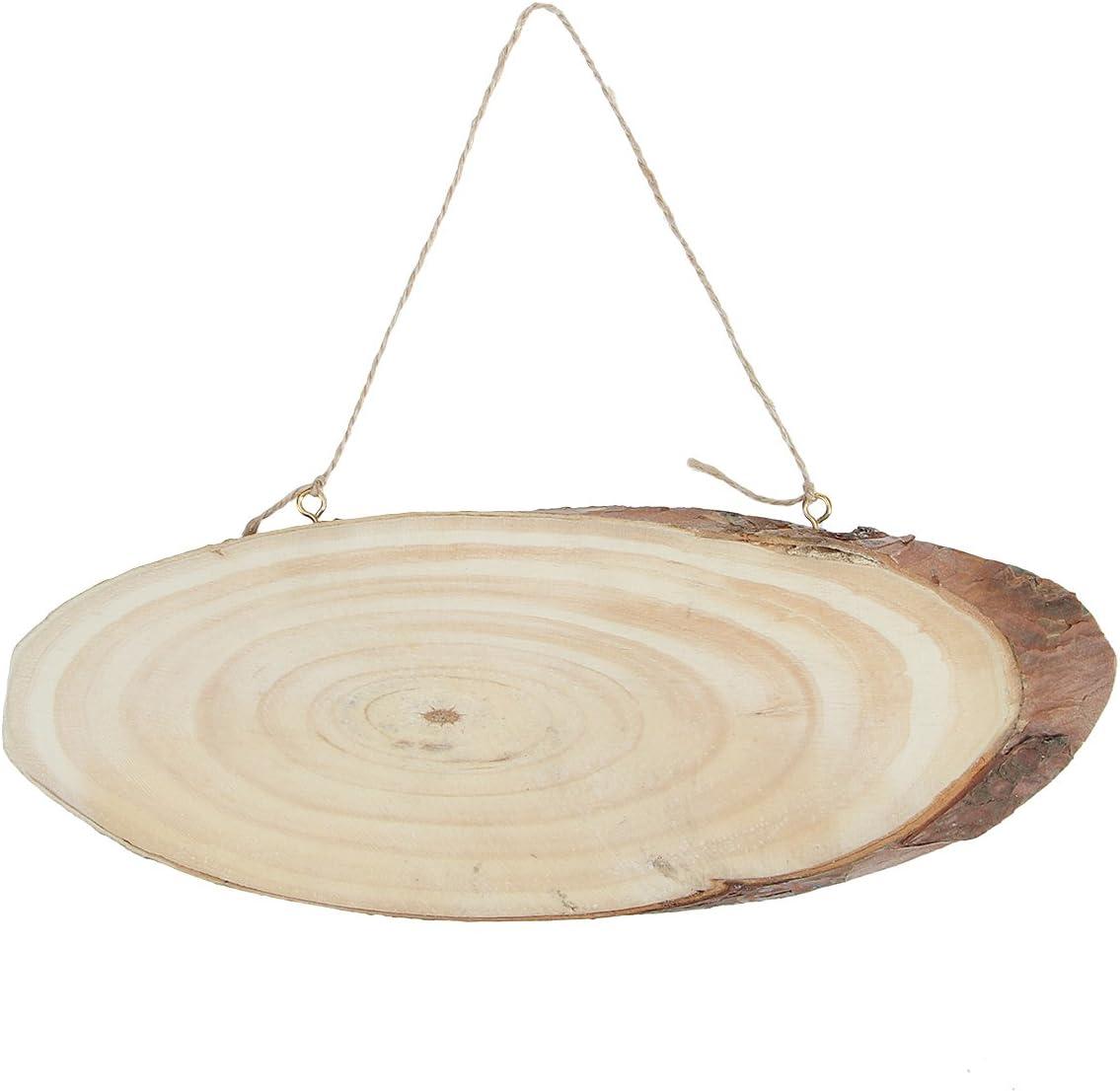 Keyohome Madera Rebanadas 3-8CM de Madera Troncos de Troncos Discos con 2 m de Cuerda de Yute para Artesan/ía de Bricolaje 50 piezas 30