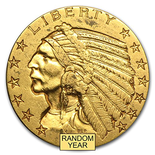 1908 - 1929 $5 Indian Gold Half Eagle XF (Random Year) G$5 Extremely Fine - Gold Half Eagle