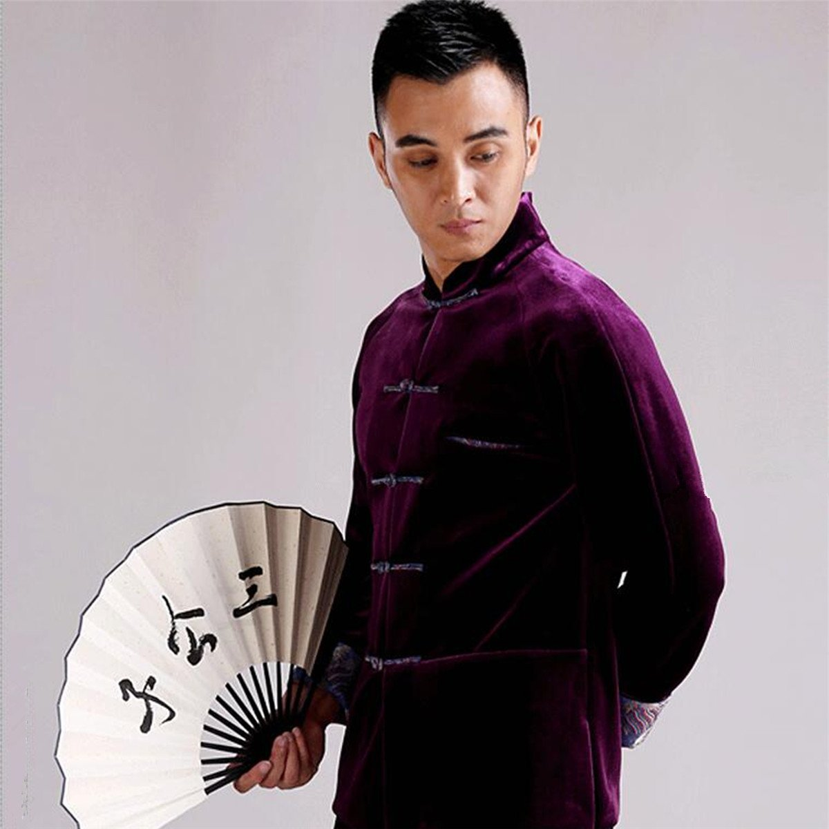 WEISAN Mens Chinese Traditional Tang Suit Velvet Chinese Kung Fu Costume Coat by WEISAN (Image #4)