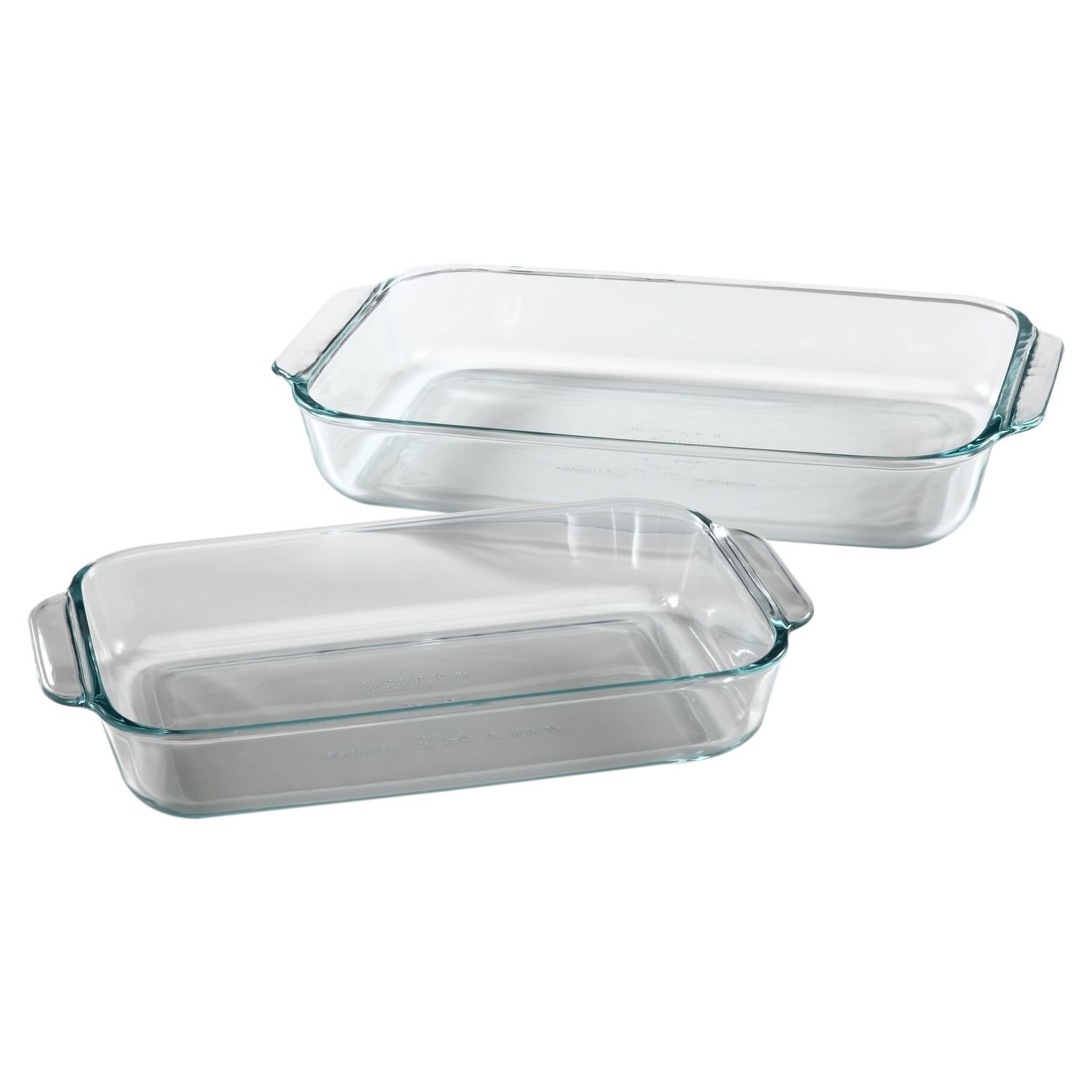 Pyrex Basics Clear Oblong Glass Baking Dishes - 2 Piece Value-plus Pack Set - 1 Each: 2 Quart, 3 Quart