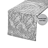 iMucci Sparkling Taffeta Sequins 13 by 108 inch Table Runner - Double Layer Tablecloth with Bling Paillette for New Year Silver