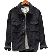 Enjoybuy Mens Corduroy Casual Lightweight Jacket Button Down Regular Fit Two Pocket Front Jacket Shirts