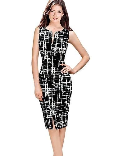 VfEmage Womens Summer Sleeveless Print Wear To Work Casual Sheath Dress