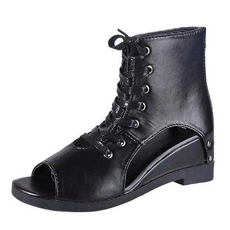d6b344218fcc2 Copercn Women s Ladies Retro Leather Peep-Toe Side Hollow Out Wedge Sandals  Zipper Thin Heel