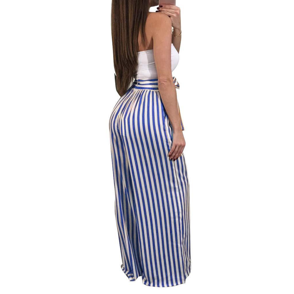 VLDO Women Striped High Waist Harem Pants Women Bandage Elastic Waist Casual Pants