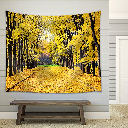 Alley in the Bright Autumn Park Fabric Wall Tapestry