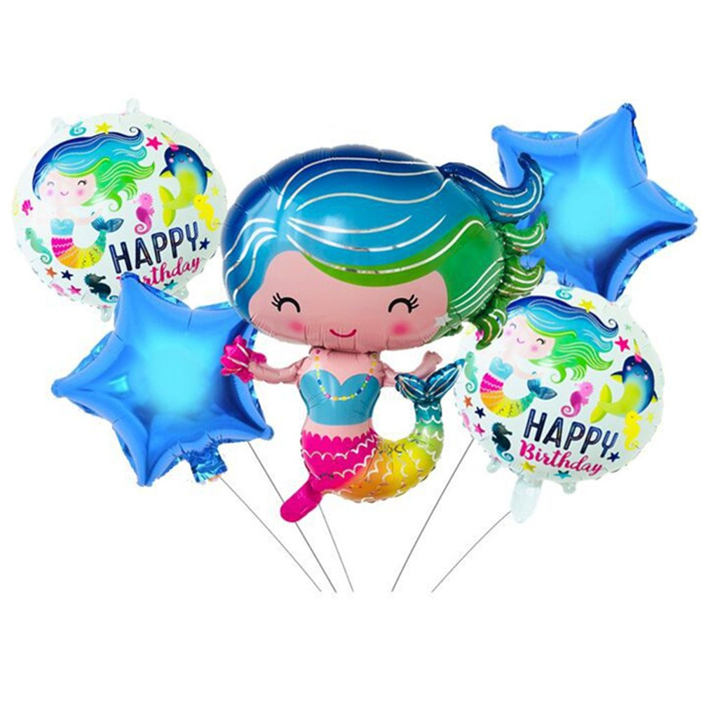 Rose&Wood Mermaid Balloon, Mermaid Party Decor, Mermaid Party Balloons, Under The Sea Party,Birthday Party,Pack of 5