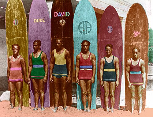 Surfing with Duke Old surfboard Art Print by