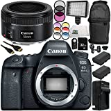 Canon EOS 6D Mark II DSLR Camera with EF 50mm f/1.8 STM Lens 13PC Accessory Bundle – Includes 32GB SD Memory Card + 2x Replacement Batteries + MORE - International Version (No Warranty)
