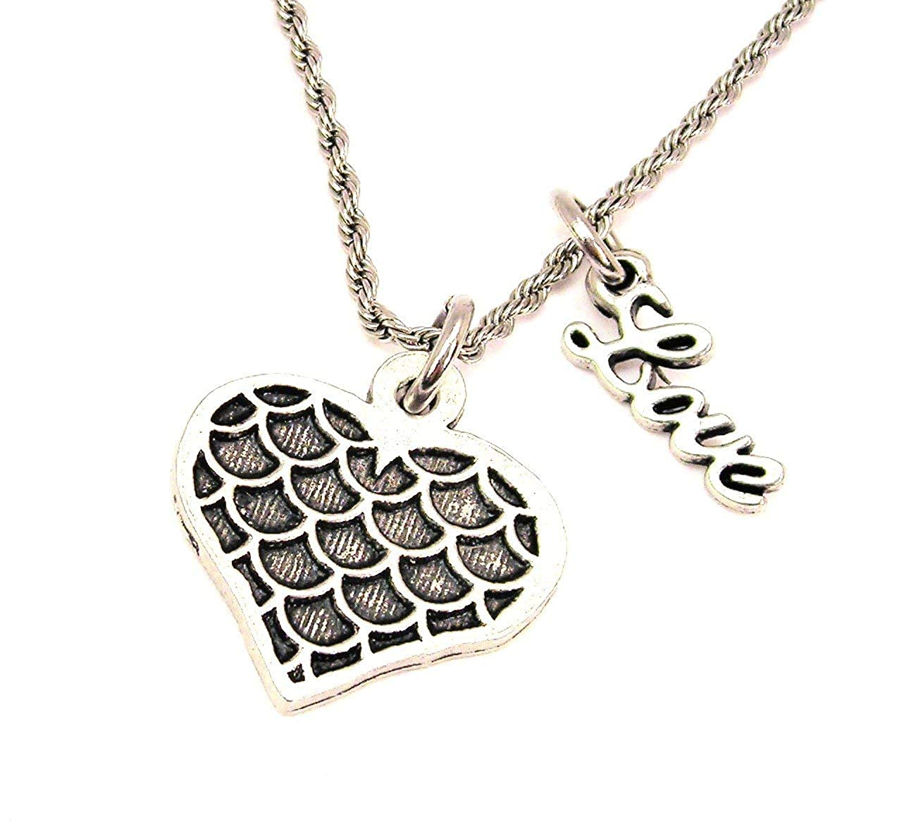 ChubbyChicoCharms Mermaids Heart Stainless Steel Rope Chain Necklace with White Crystal Accent