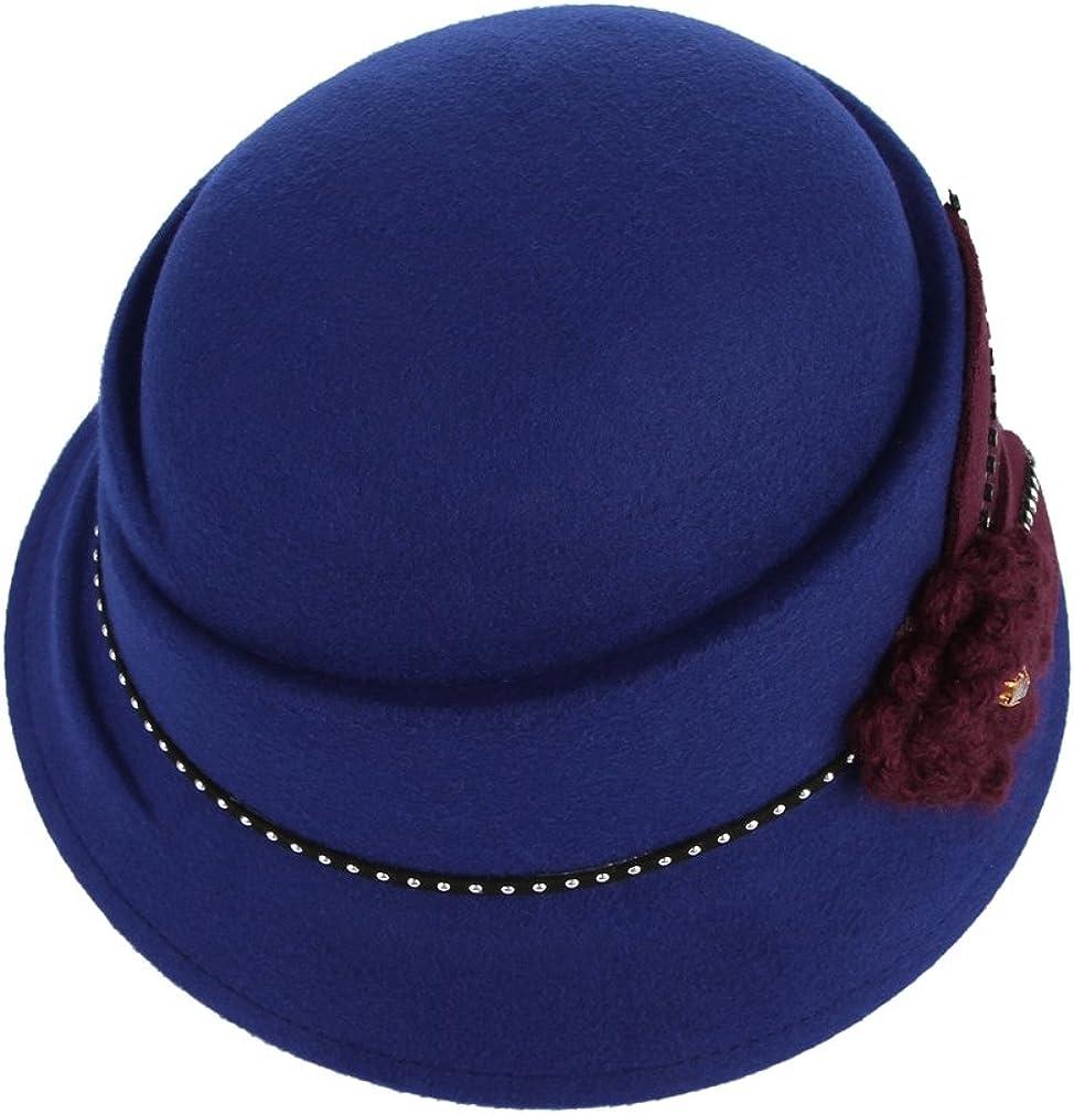 La Vogue Chapeau Cloche Fleur Femme Chaude R/étro Laine Chapeau Soir/ée C/ér/émonie Bal Hiver