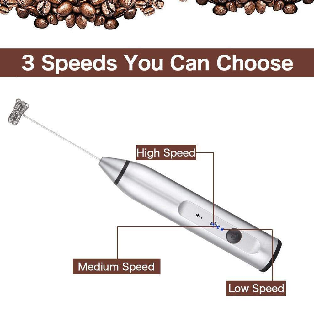 Mghome Handheld Electric USB Charging Egg Beater Milk Frother Drink Mixer for Coffee