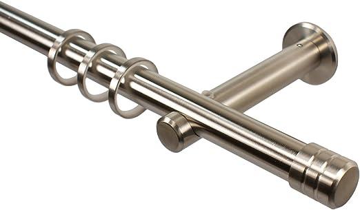 Gardinenstange Metall 20 mm Edelstahl Optik 100 bis 600 cm