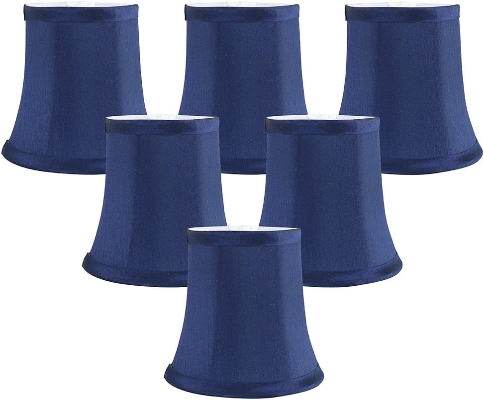 Meriville Set of 6 Blue Faux Silk Clip On Chandelier Lamp Shades, 3.5-inch by 5-inch by 4.75-inch