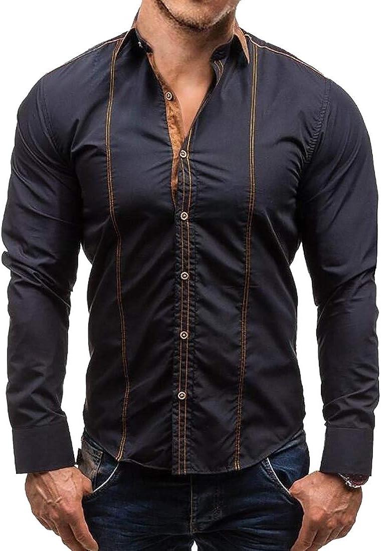 CBTLVSN Mens Solid Stylish Business Slim Long Sleeve Button Down Dress Shirts
