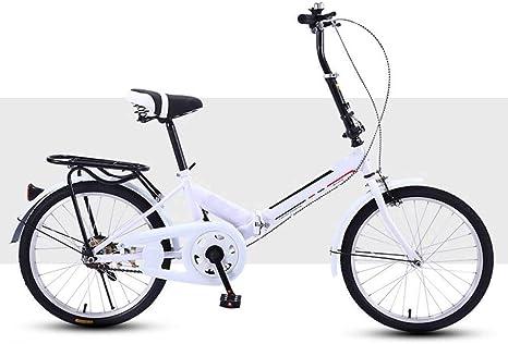 Bicicleta 20 Pulgadas, Plegable Adulto Absorción De Impacto Ligero Portátil Pequeño Masculino Estudiante Adolescente Viaje Ciclismo-UNA-blanco-20INCH: Amazon.es: Deportes y aire libre