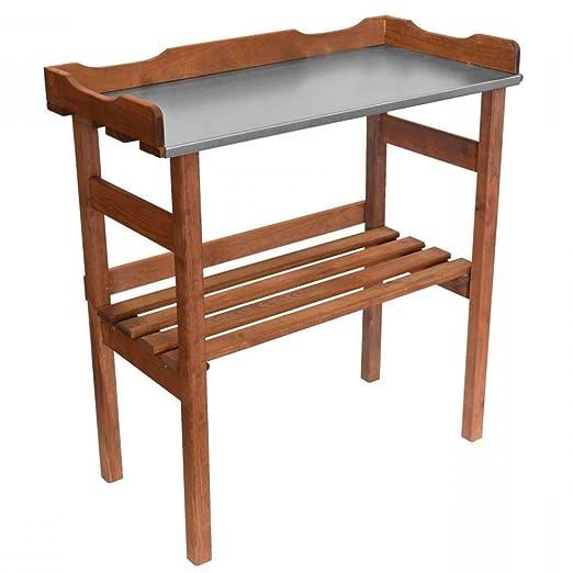 Mesa de siembra de madera con metal encimera - 92 x 78 cm - Jardín ...