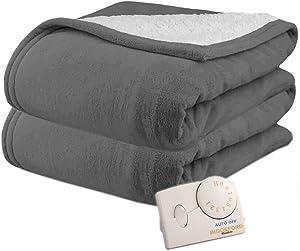 Biddeford 2060-9032138-902 MicroPlush Sherpa Electric Heated Blanket Twin Grey
