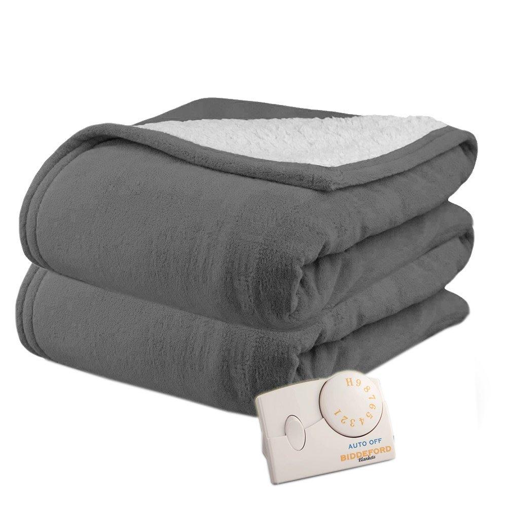 Biddeford 2061-9032138-780 MicroPlush Sherpa Electric Heated Blanket Full Linen Tan COMIN18JU071287