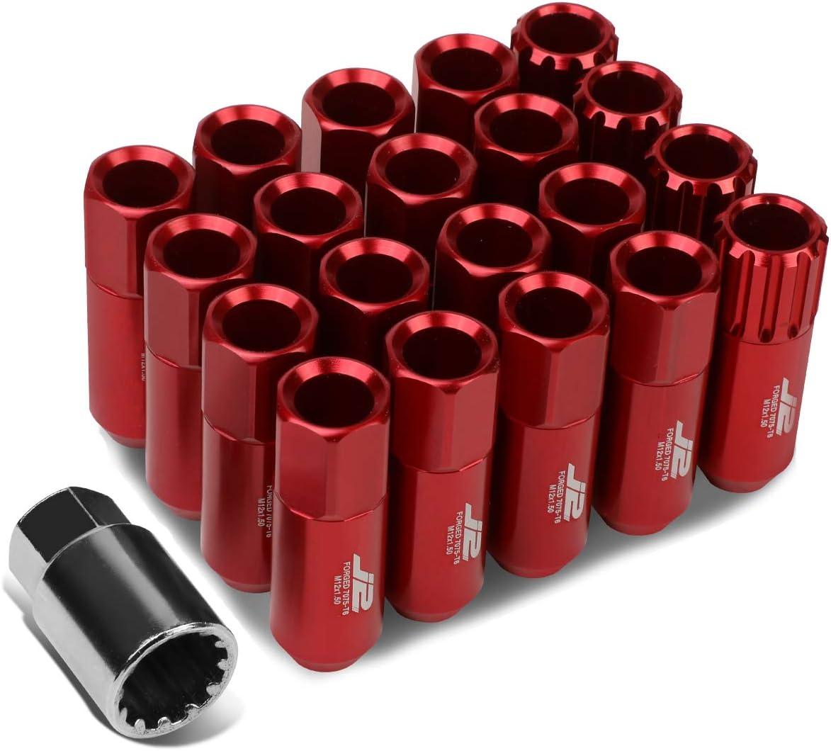J2 Engineering LN-T7-010-15-RD Red 7075 Aluminum M12X1.5 16Pcs L: 60mm Open End Lug Nut w/4Pcs Lock+Key