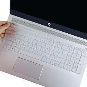 "Keyboard Cover Skin for HP Envy X360 15.6 Keyboard Cover for HP Envy 17 Series/HP Envy x360 15.6"" Series/2020 2019 HP Pavilion 15 Series/HP Laptop 17t 17-BS 17-BW 17-CA 17-by Keyboard Protector, Clear"