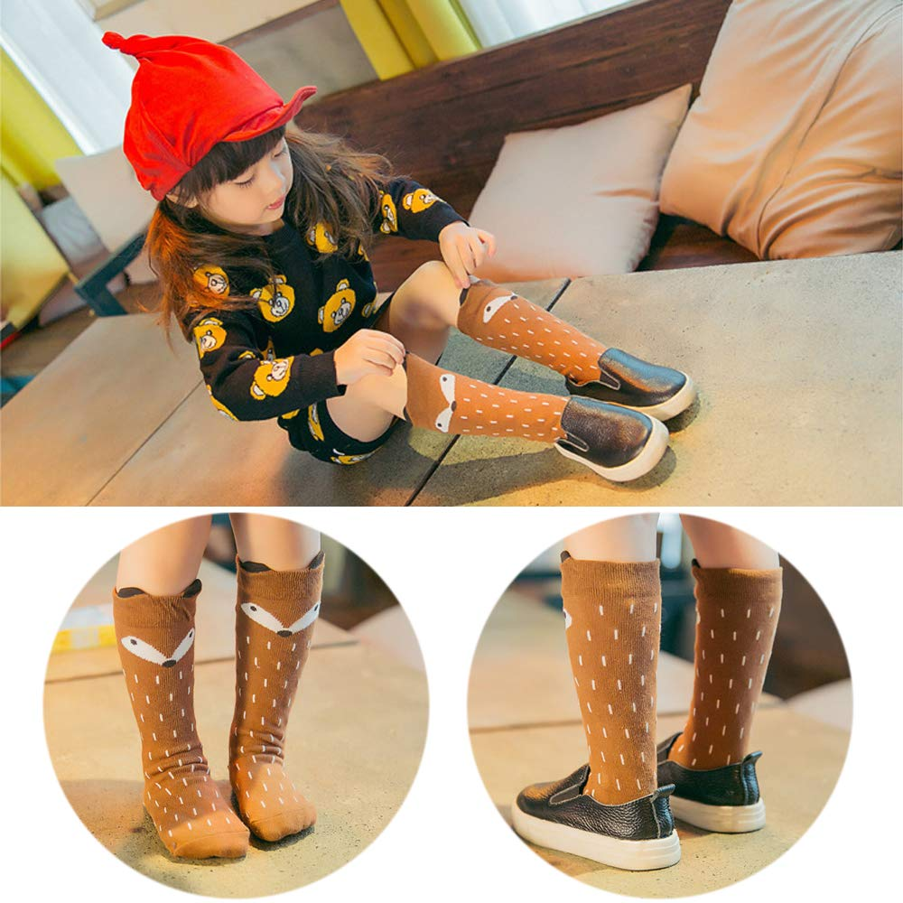 Unisex Baby Toddler Girls Boys Knee High Socks Kids Cartoon Animal Stockings 6 Pairsack