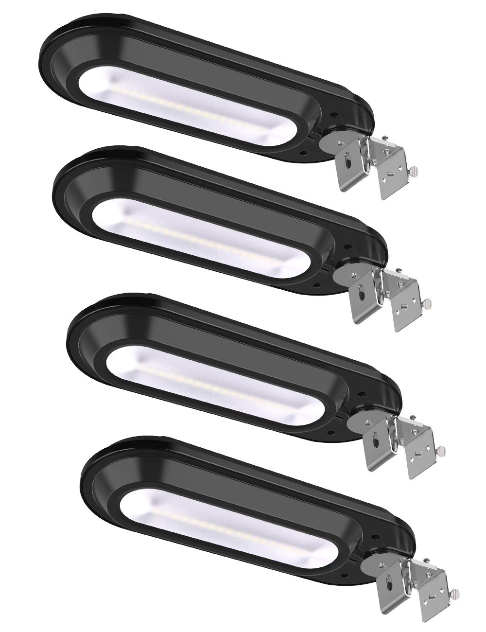 ROSHWEY Solar Gutter Lights Outdoor, Super Bright 18 LED Deck Light Waterproof Wall Lamps Dusk to Dawn for Garden Fence Garage Pathway (Pack of 4, Cool White Light) by ROSHWEY