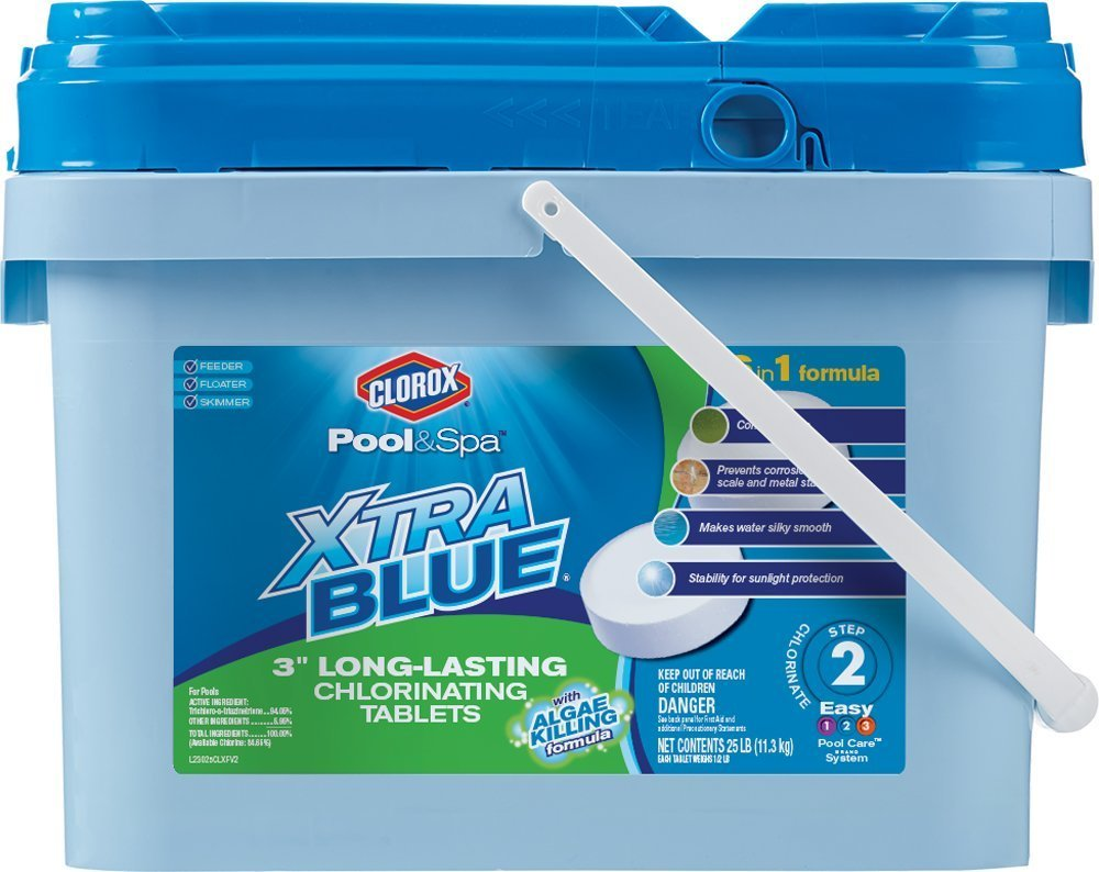 Clorox Pool&Spa Xtra Blue 3-Inch Long Lasting Chlorinating Tablets, 25-Pound 23025CLX (2)