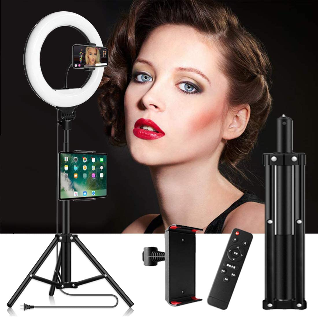 DLMPT LED Ring Light with 1.7m Tripod Stand 3 Color temperatures Bluetooth Controller Ringlight Make Up Light Level for Live Stream Makeup YouTube Video