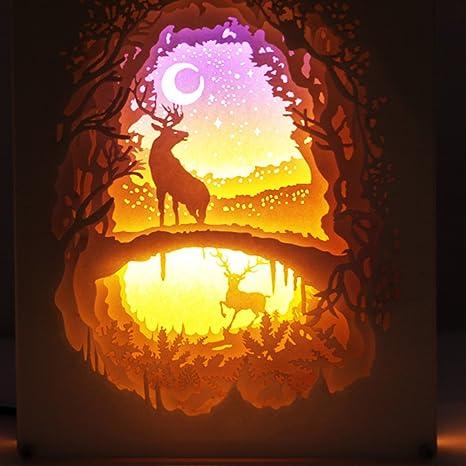 YBZAR Navidad Alce Papercut Cajas Luz Control Remoto Noche ...