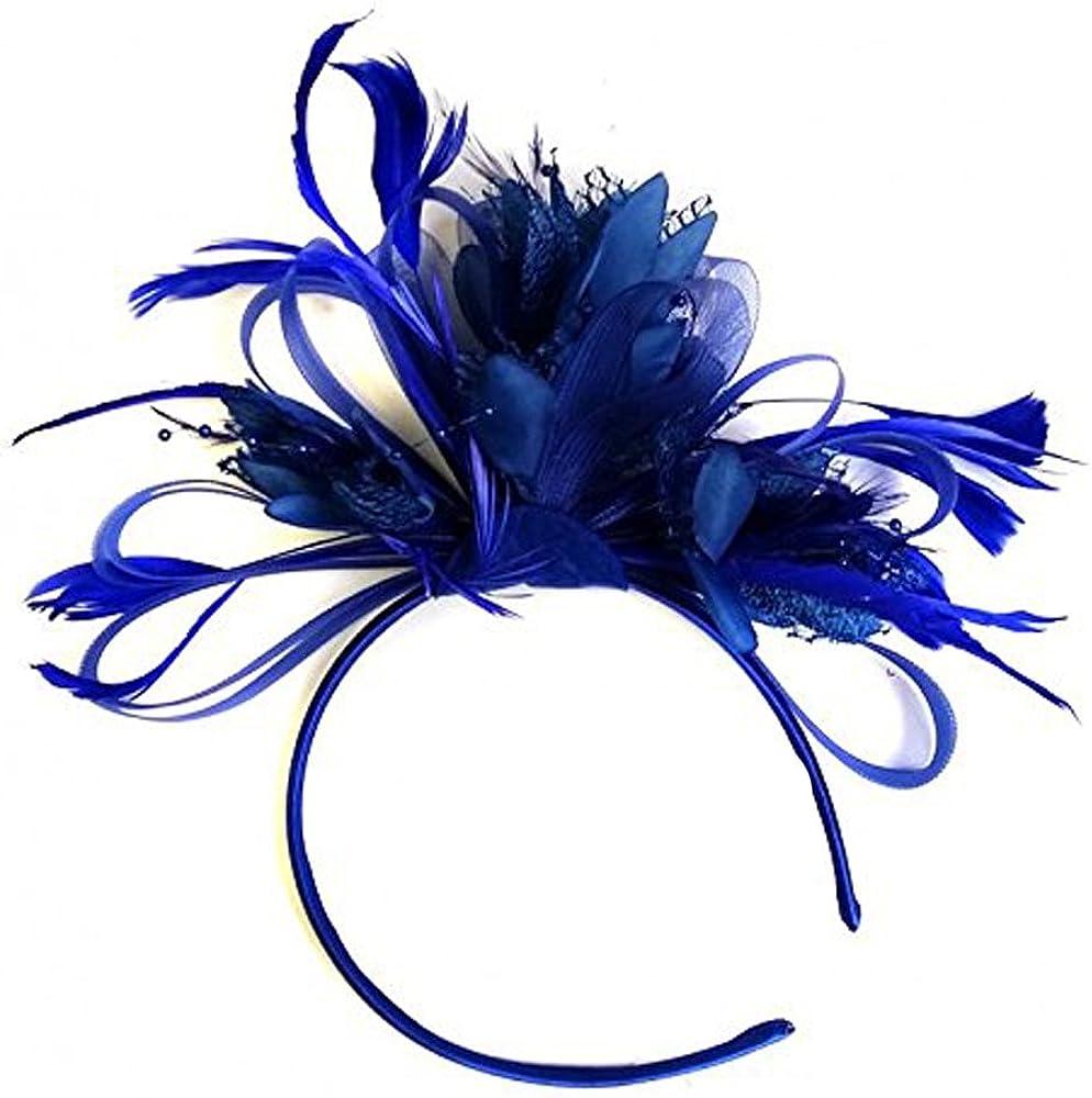 Caprilite Royal Blue Fascinator on Headband for Women
