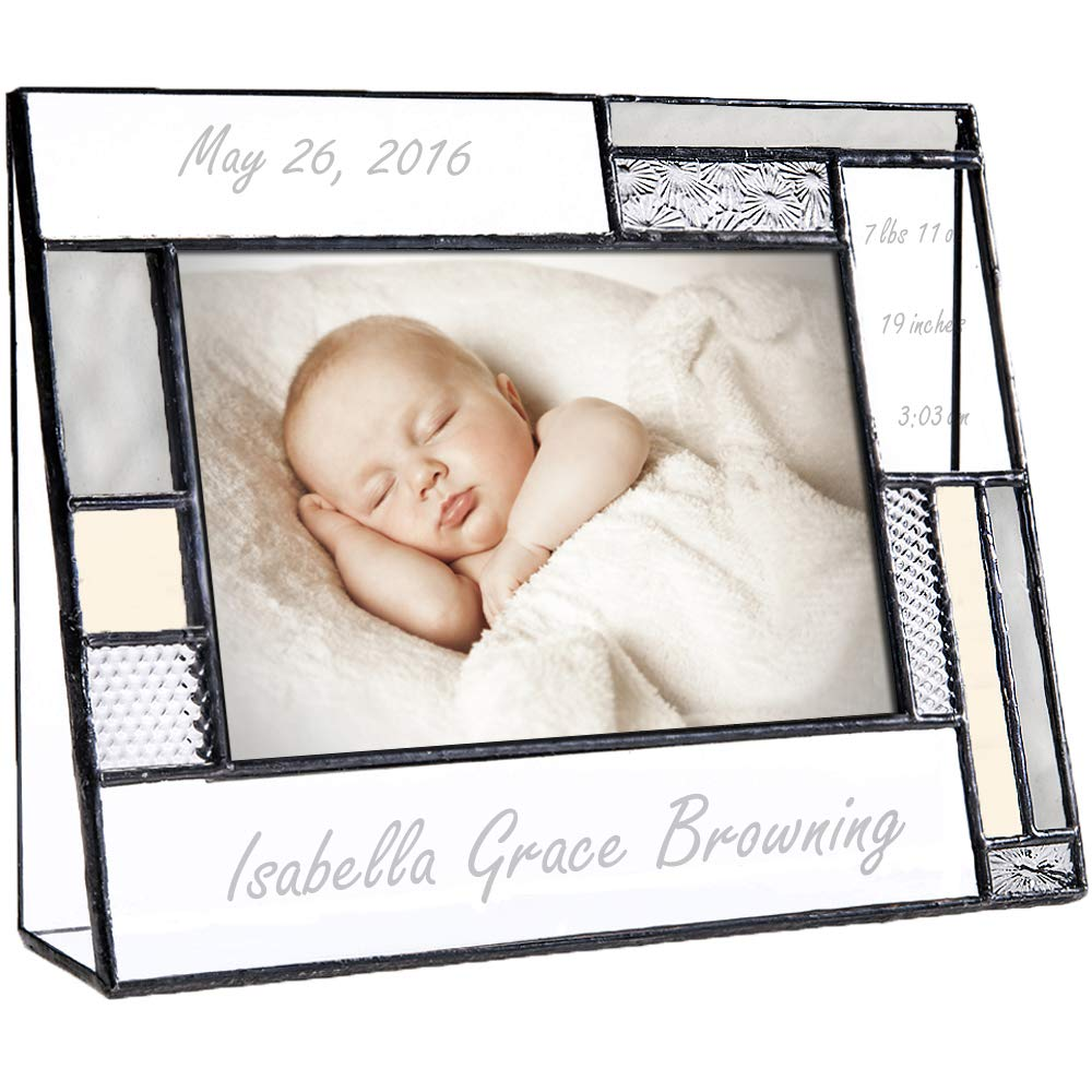 Personalized Baby Picture Frame Grey and Yellow Engraved Glass 4x6 Horizontal Photo Nursery Decor Newborn Gift for Girl or boy J Devlin Pic 392-46H EP530 by J Devlin Glass Art